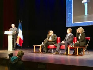 Jacques Biot, President of Ecole Polytechnique, welcoming Jean-Yves Le Drian (left) and John Chambers (right) (c) 2016 - Thomas Clausen