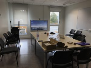 Telepresence Units (TPs) being set up and tested..
