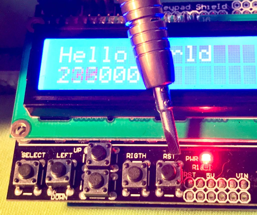 Walking Through The 1602 Lcd Keypad Shield For Arduino Thomas Clausen Audio Why Is My Msgeq7 Circuit Giving Analog Readings That This Button Simply Mapped To Rst Of And Expectedly Will Reset Honestly While Symmetry May Be Esthetically